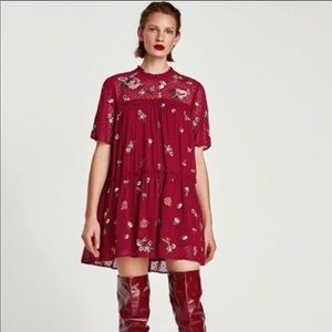Zara Woman line embroidered mini dress